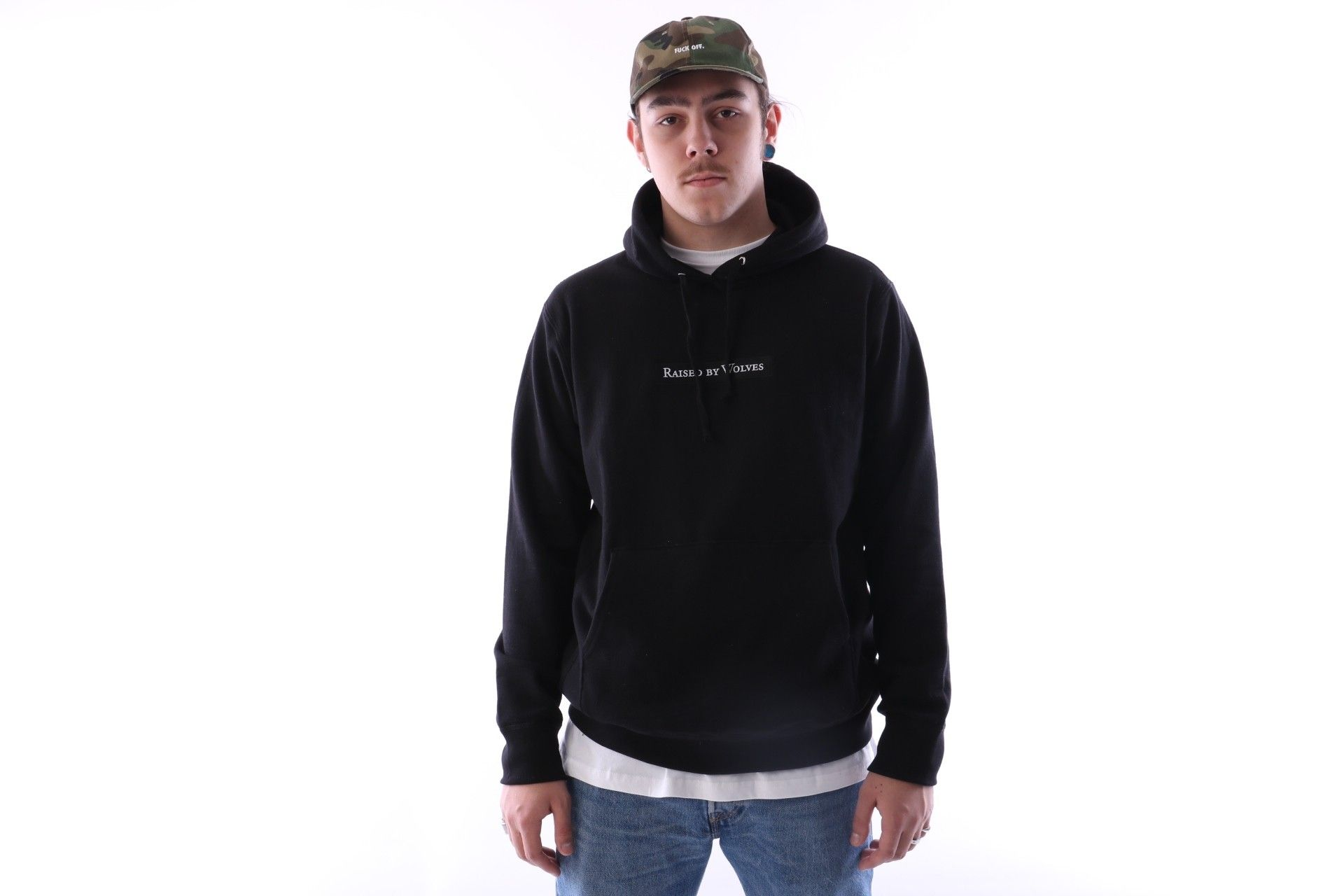 Afbeelding van Raised By Wolves Box Logo Hooded Sweatshirt Black French Terry