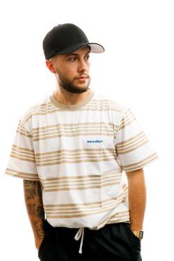Afbeelding van Woodbird T-shirt Olei Stripe Tee White-Ecru-Kit 2026-410