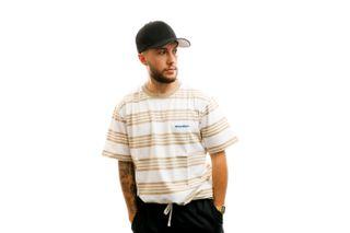 Foto van Woodbird T-shirt Olei Stripe Tee White-Ecru-Kit 2026-410