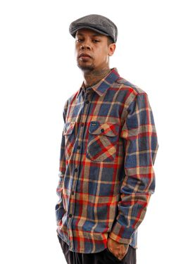 Afbeelding van Brixton Blouse Bowery L/S Flannel Blue/Red 1213