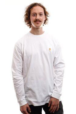 Afbeelding van Carhartt Long Sleeve L/S Chase T-Shirt White / Gold I026392