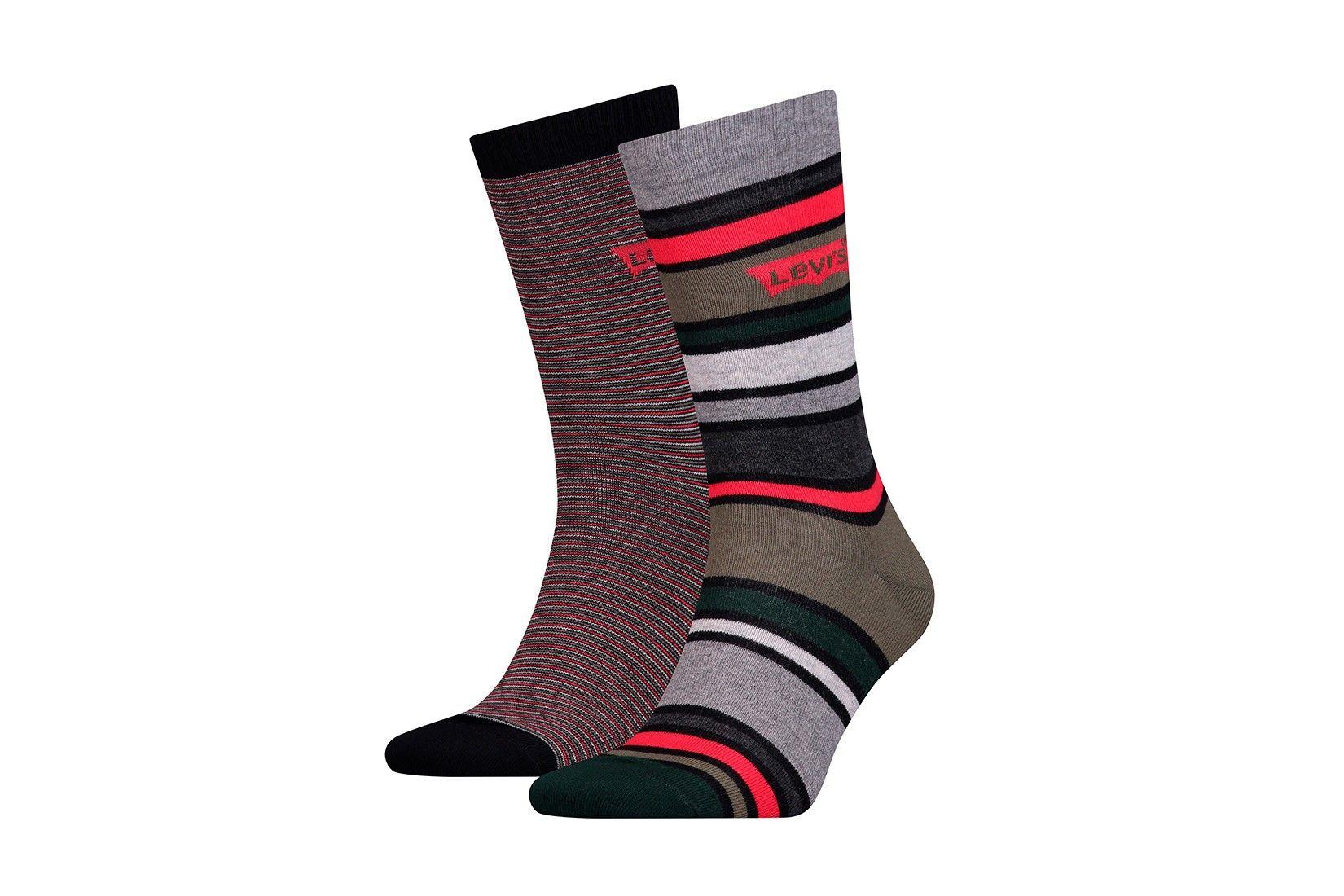 Afbeelding van Levi`S Bodywear 168Sf Regular Cut Multi Stripe 2P 993037001 Sokken Olive