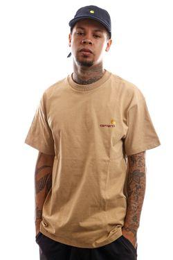 Afbeelding van Carhartt T-Shirt S/S American Script T-Shirt Dusty H Brown I029007