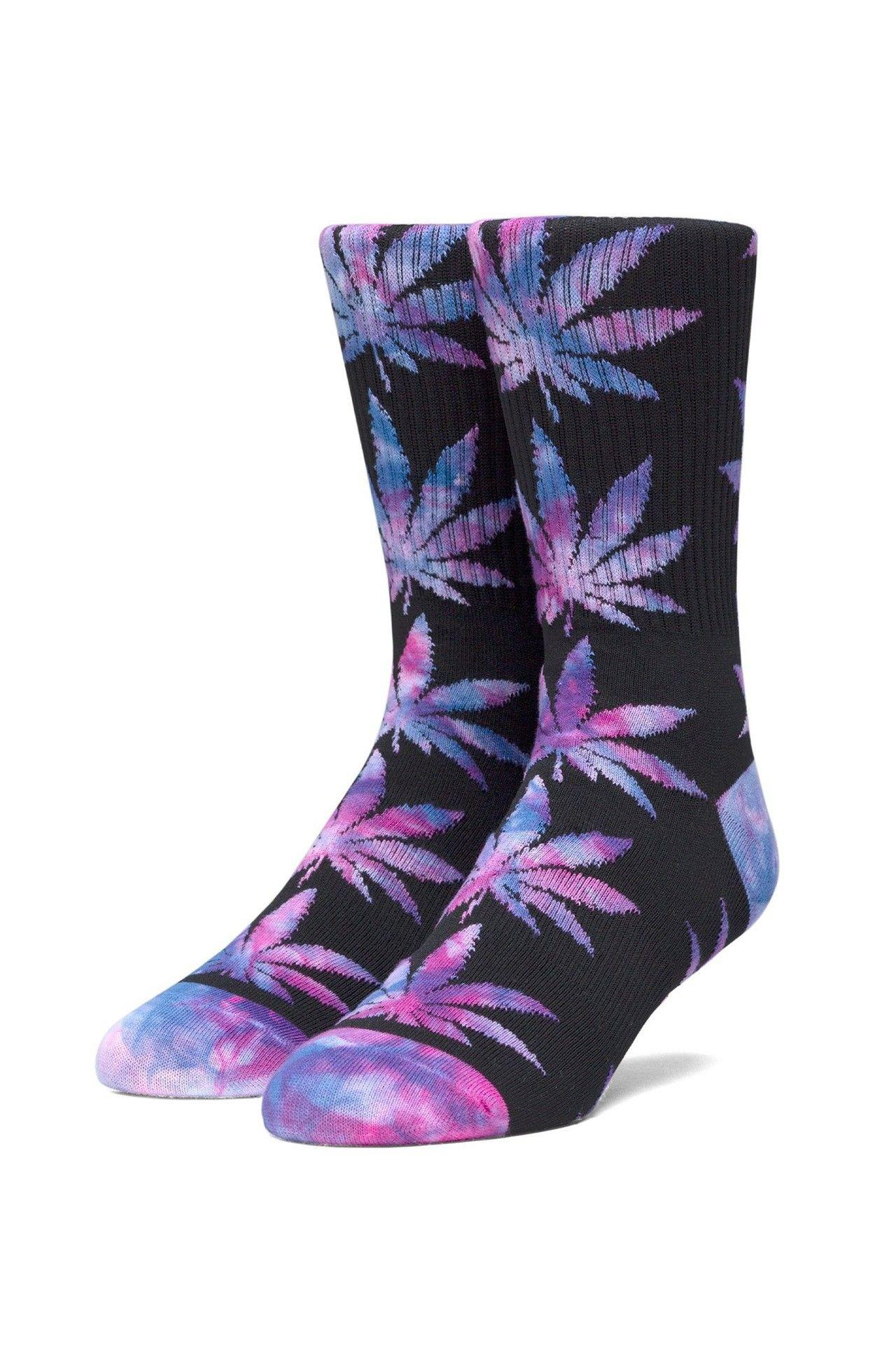 Afbeelding van HUF Sokken Plantlife Tiedye Leaves Sock Black SK00433-BLACK