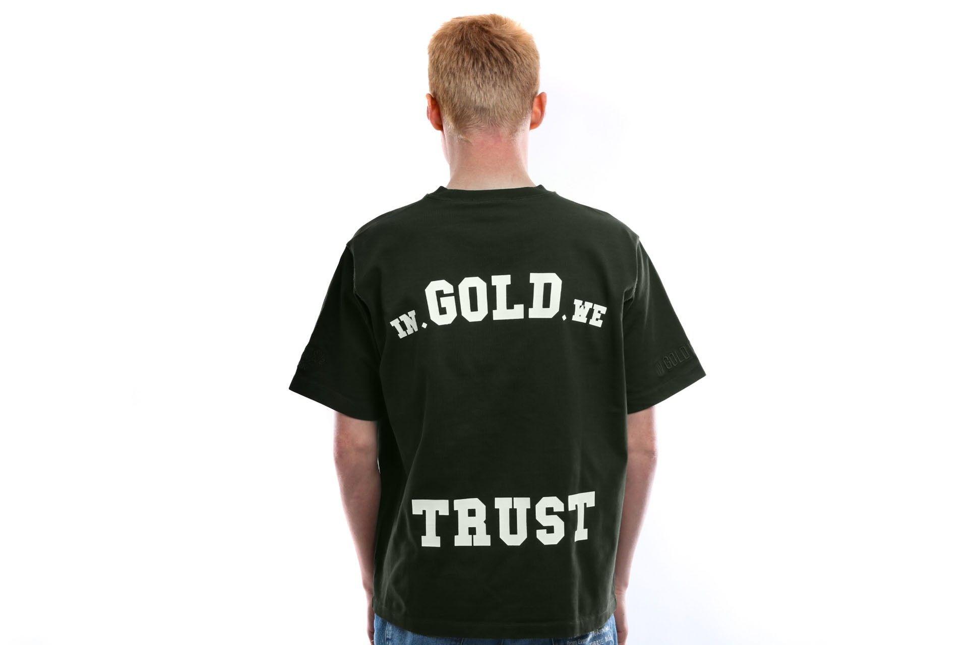 Afbeelding van In Gold We Trust T Shirt Overside Tee Basic Print Black Print Frond Kombu green IGWT-003