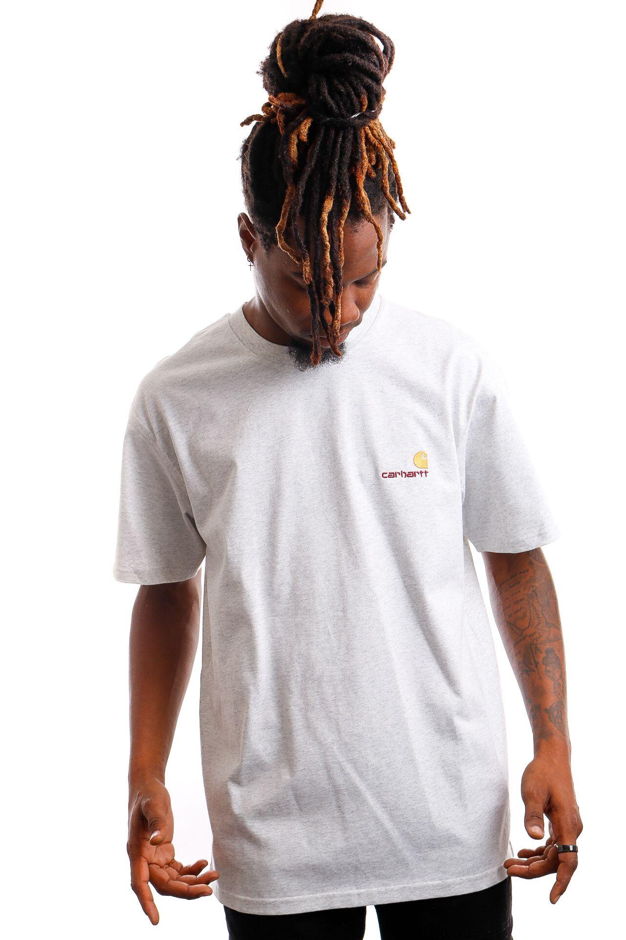 Afbeelding van Carhartt T-shirt S/S American Script Ash Heather I029956
