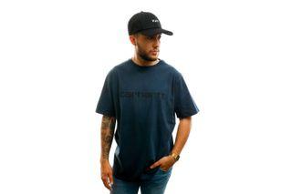 Foto van Carhartt T-shirt S/S Script T-Shirt Admiral / Black I023803