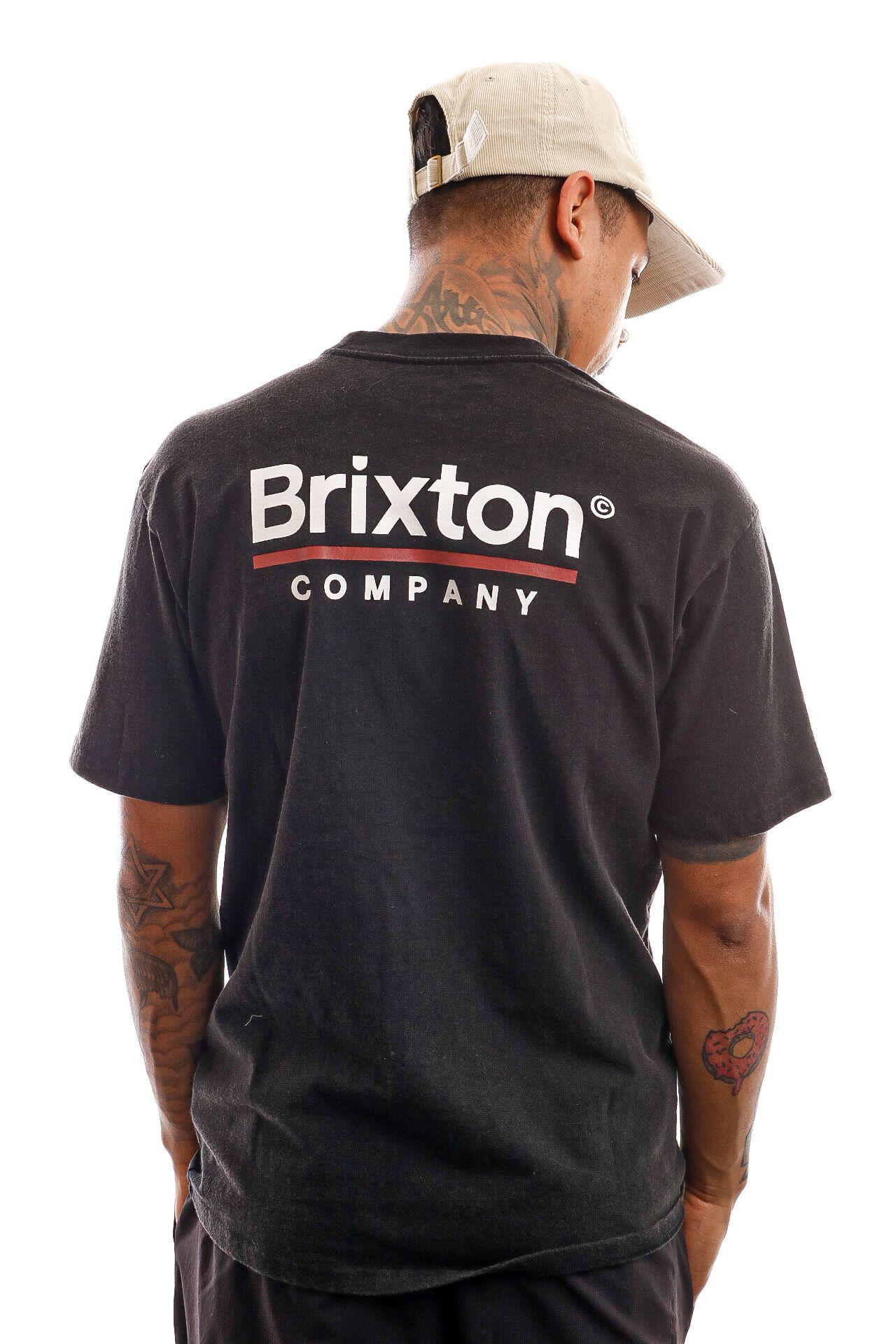 Afbeelding van Brixton T-shirt Palmer Line S/S STT Worn Wash Black 16423