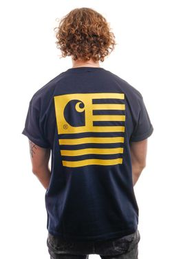 Afbeelding van Carhartt T-Shirt S/S State T-Shirt Dark Navy / Colza I028434