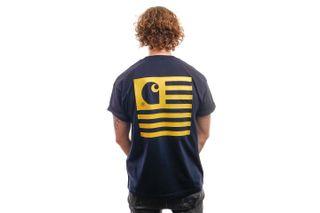 Foto van Carhartt T-Shirt S/S State T-Shirt Dark Navy / Colza I028434
