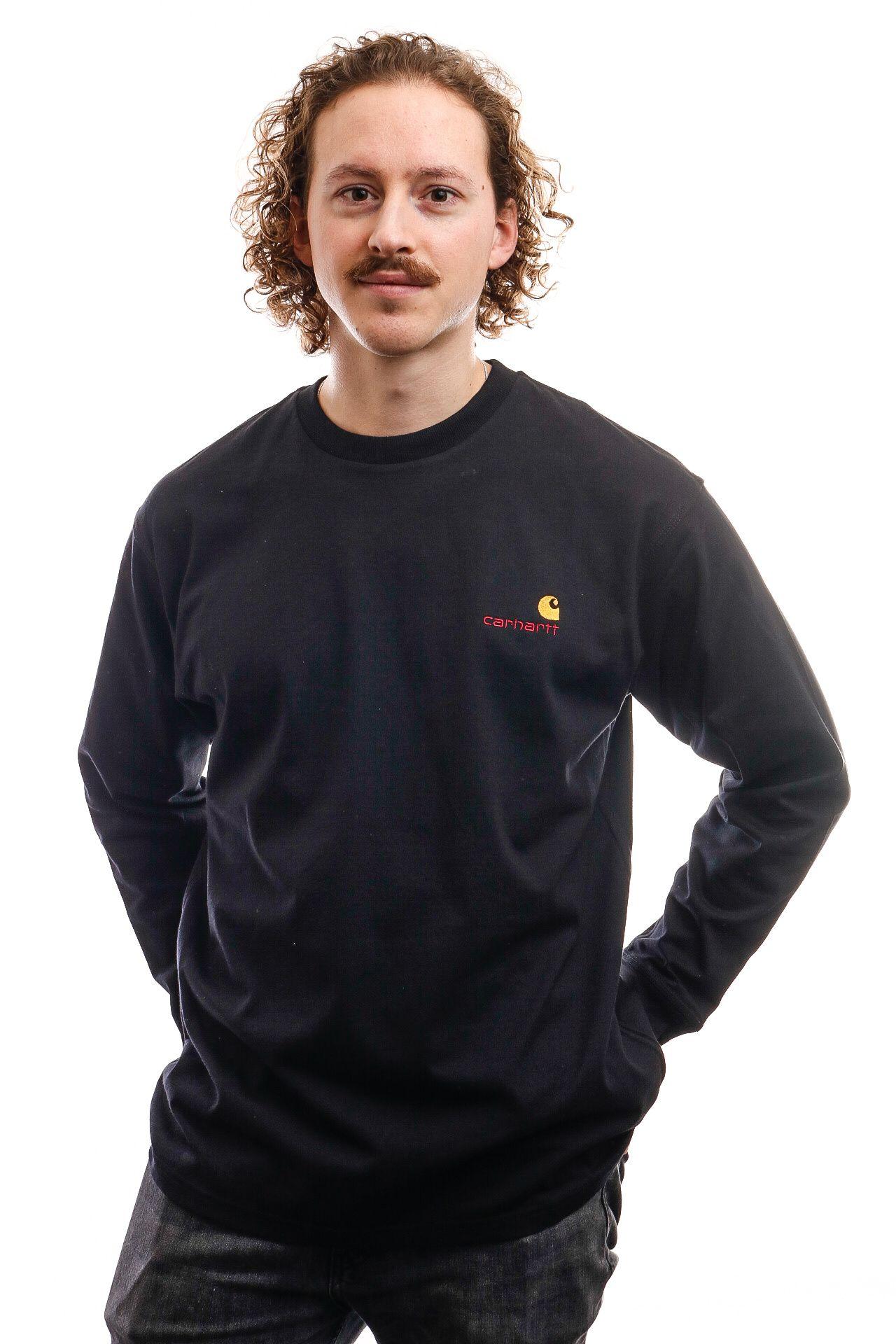 Afbeelding van Carhartt Long Sleeve L/S American Script T-Shirt Black I025712
