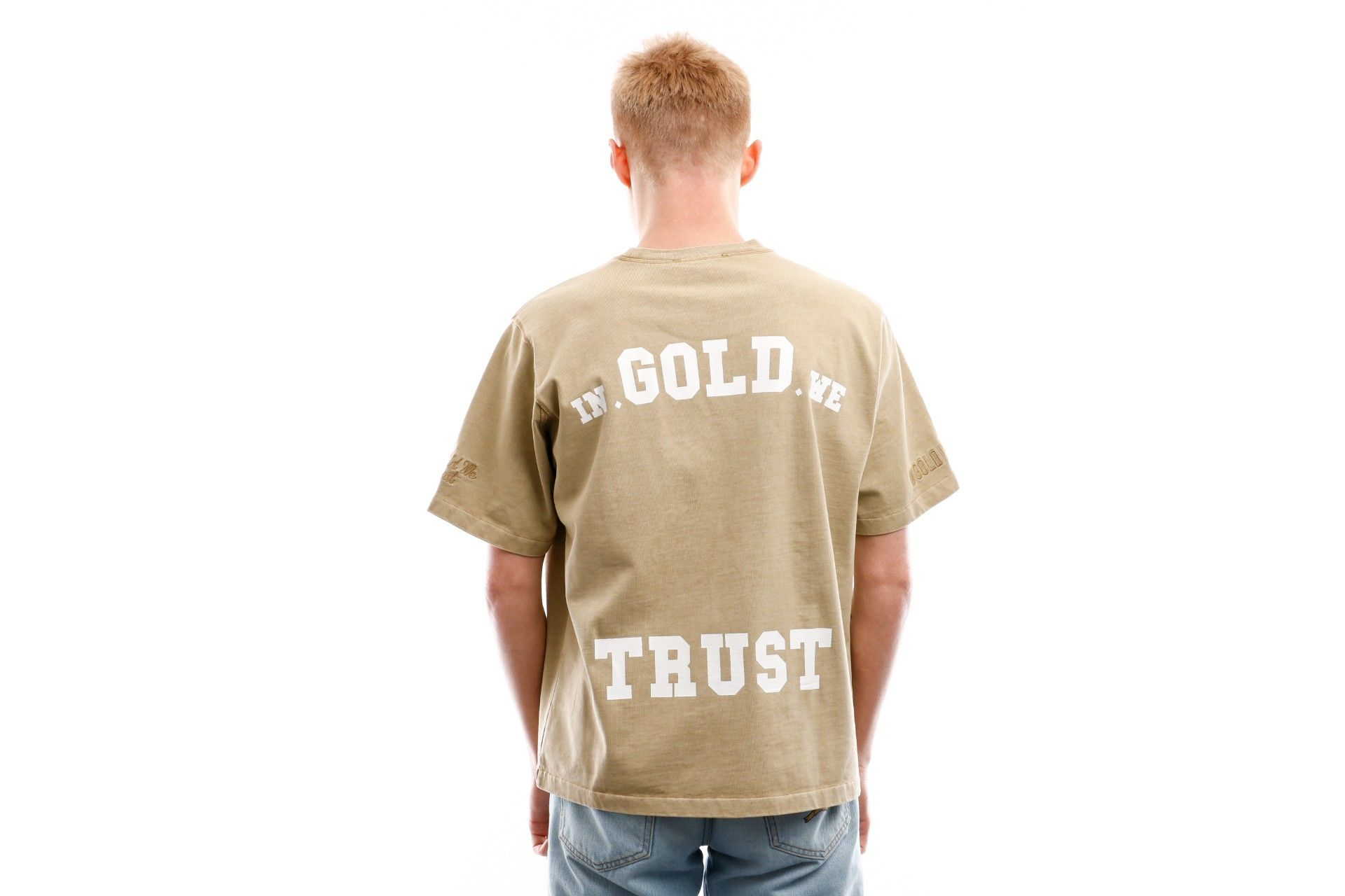 Afbeelding van In Gold We Trust T Shirt Overside Tee Basic Print Black Print Frond Safari IGWT-003