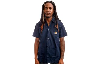 Foto van Carhartt Blouse S/S Creek Shirt Dark Navy I028804