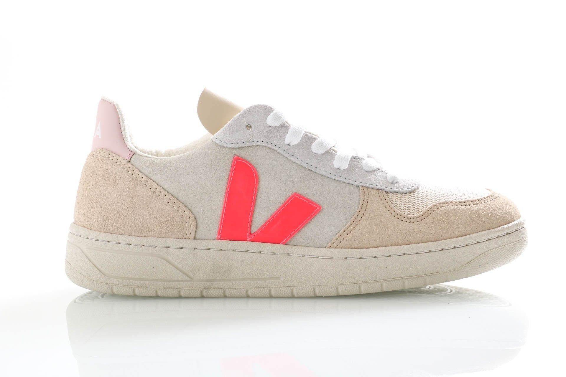 Afbeelding van Veja Sneakers V-10 Multico Natural/Rose Fluo VX032188