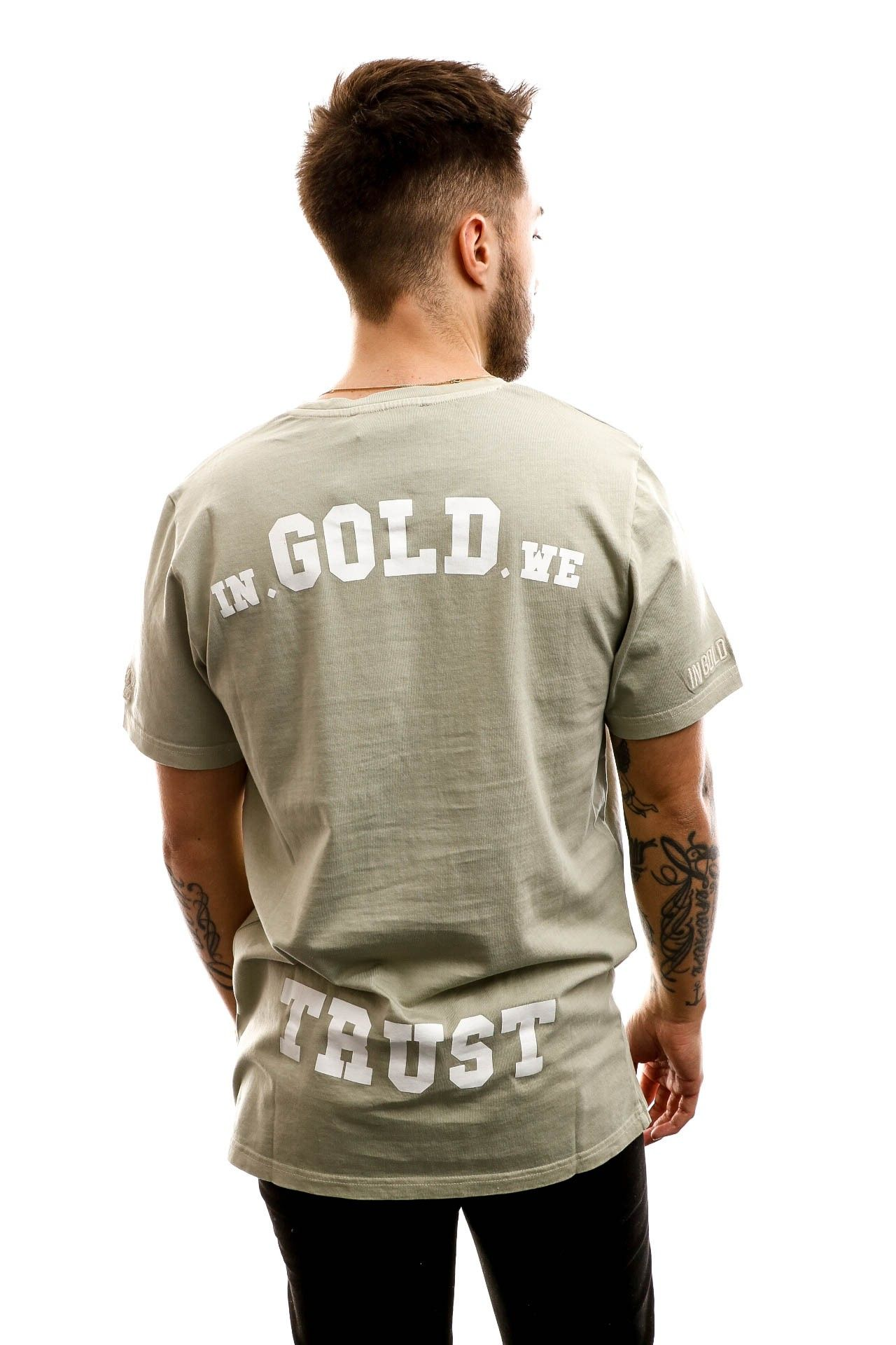 Afbeelding van In Gold We Trust T-shirt The Pusha Olive green IGWTT-001-O