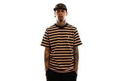 Afbeelding van Carhartt T-shirt S/S Oakland T-Shirt Oakland Stripe, Dark Navy / Pop Orange I027731