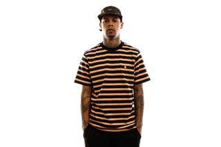 Foto van Carhartt T-shirt S/S Oakland T-Shirt Oakland Stripe, Dark Navy / Pop Orange I027731