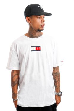 Afbeelding van Tommy Jeans T-Shirt TJM VINTAGE FLAG PRINT Off White DM0DM11610