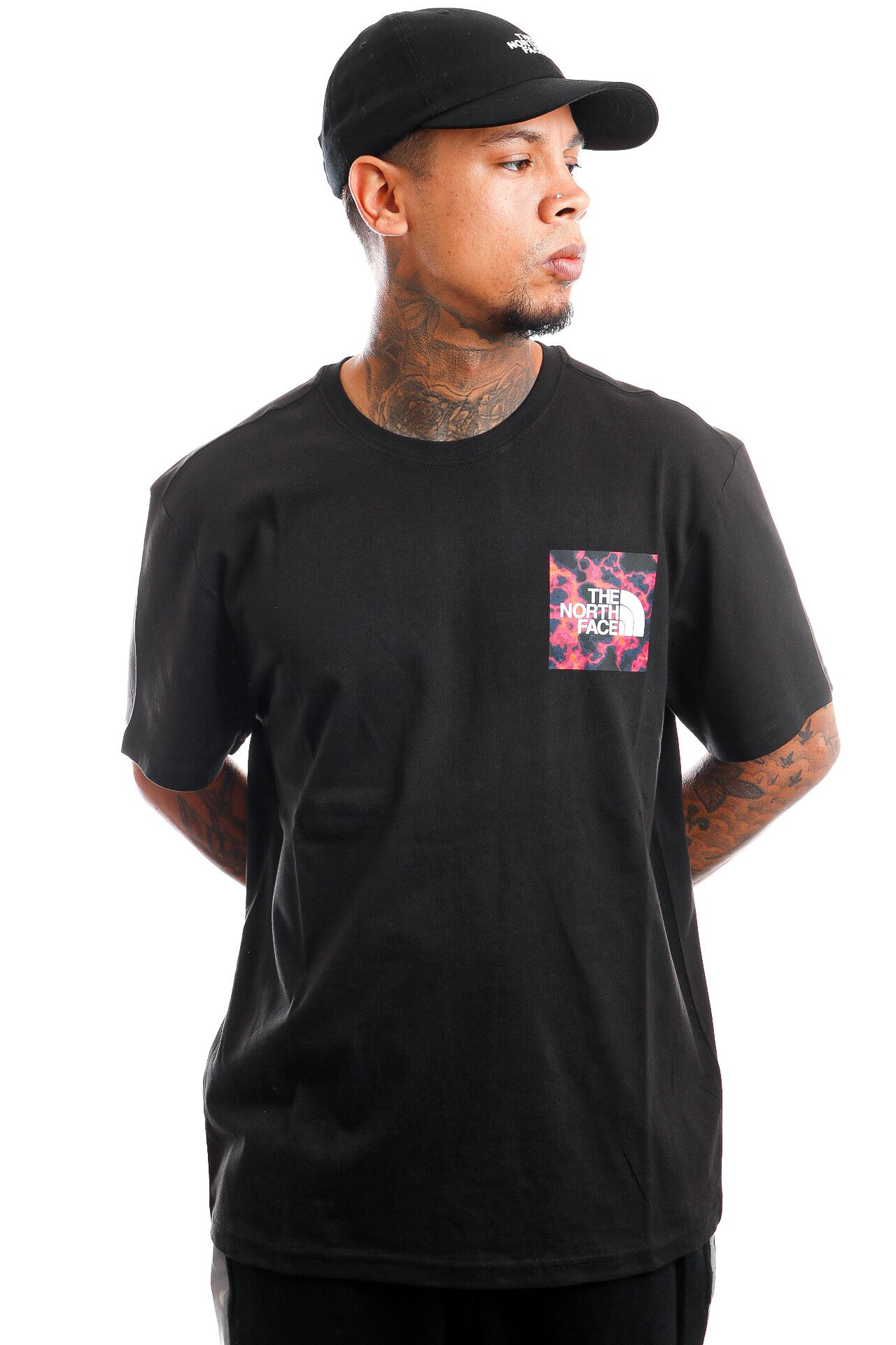Afbeelding van The North Face NF00CEQ52A41 T-Shirt Mens S/S Fine TNF Black/Marblecamoprint