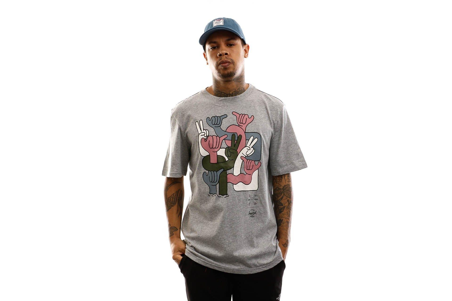 Afbeelding van Herschel T-shirt Kevin Butler | Men's Tee Group Hands Heather Grey 50027-00566