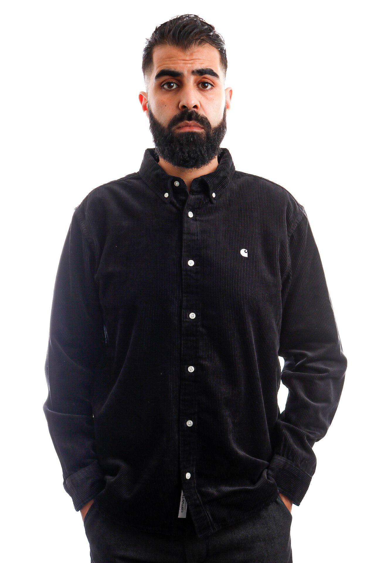 Afbeelding van Carhartt Blouse L/S Madison Cord Shirt Black / Wax I029958