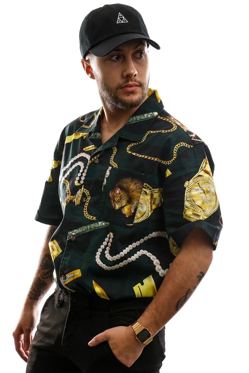 Afbeelding van HUF Overhemd Tenderloin Woven S/S Shirt Black BU00069-BLACK