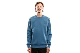 Foto van Carhartt Wip Script Embroidery Sweatshirt I027678 Crewneck Prussian Blue / Black