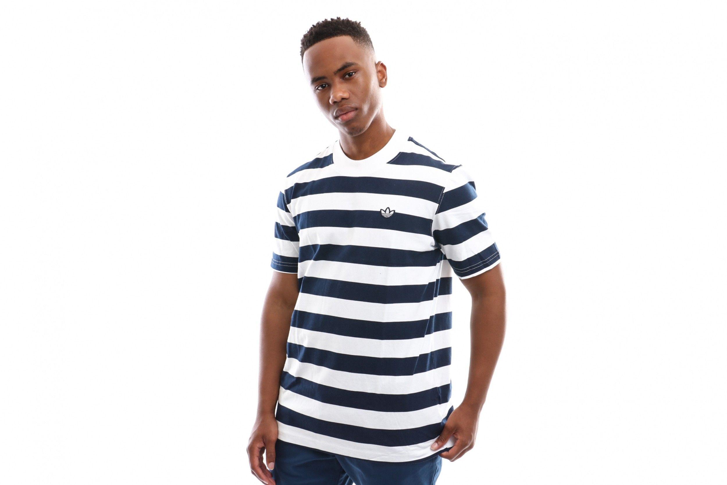 Afbeelding van Adidas Stripe Tee Ec9304 T Shirt Night Indigo/White