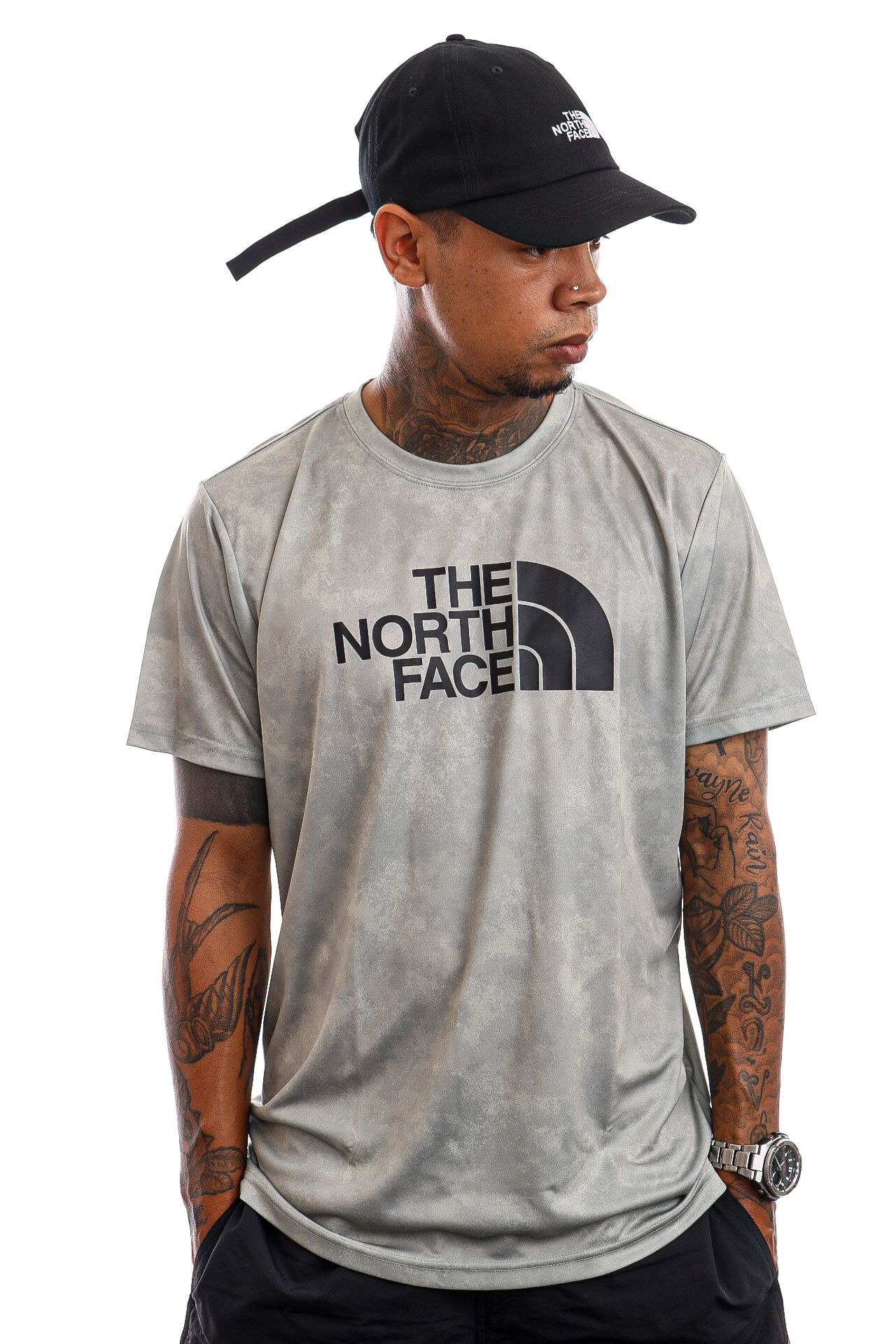 Afbeelding van The North Face T-Shirt M Reaxion Easy Wrought Iron/Morning Fog Print NF0A4CDV03U1