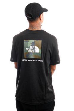 Afbeelding van The North Face NF0A2TX23C01 T-Shirt Mens S/S Redbox TNF Black/Thyme Brushwood Camoprint