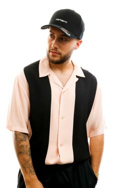 Afbeelding van Carhartt Overhemd S/S Lane Shirt Powdery / Black I027508