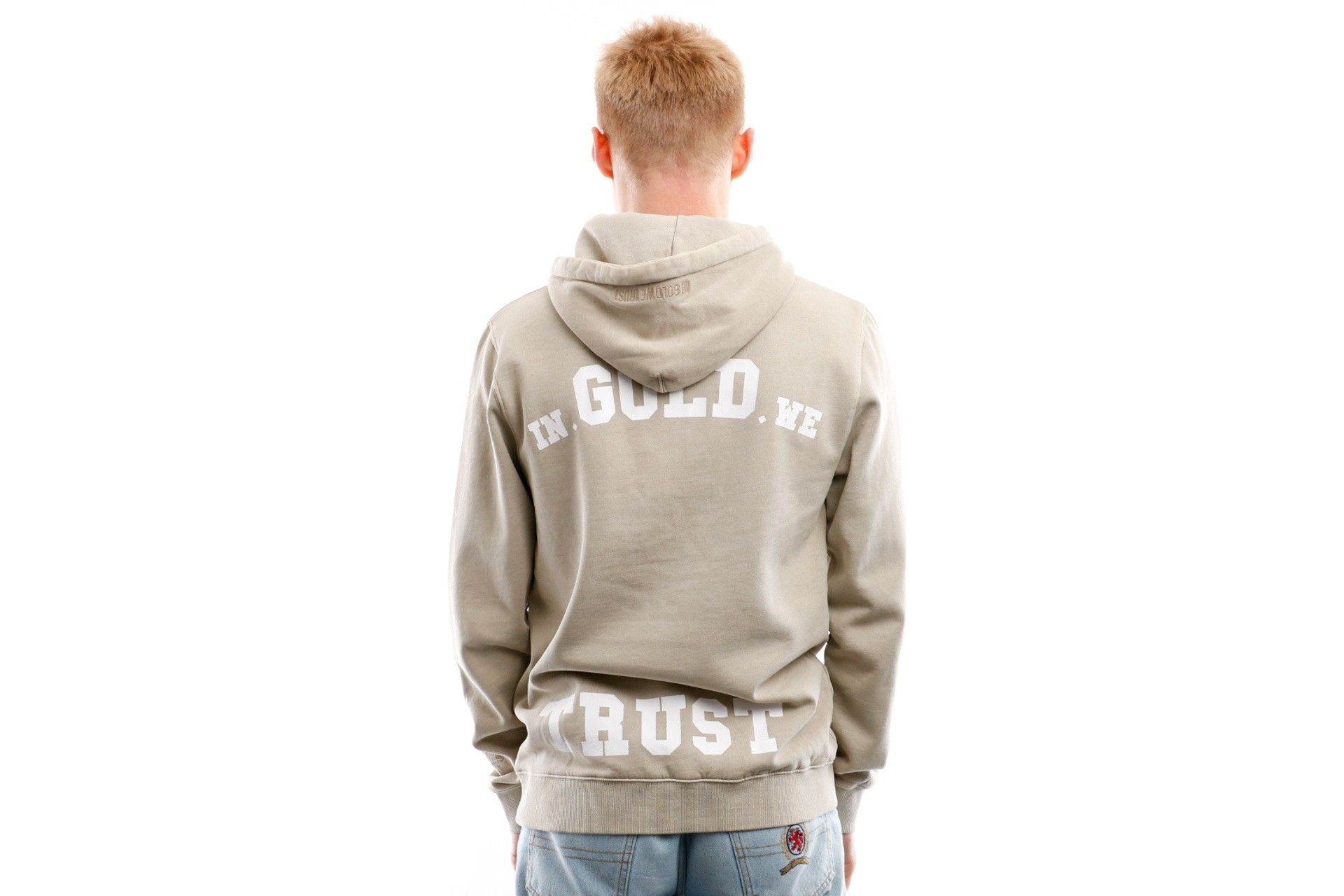 Afbeelding van In Gold We Trust Hooded Garment Dye Feather grey IGWTH-003