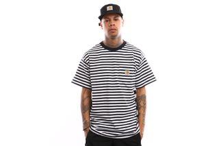 Foto van Carhartt Wip S/S Barkley Pocket T-Shirt I026364 T Shirt Barkley Stripe. Dark Navy / White