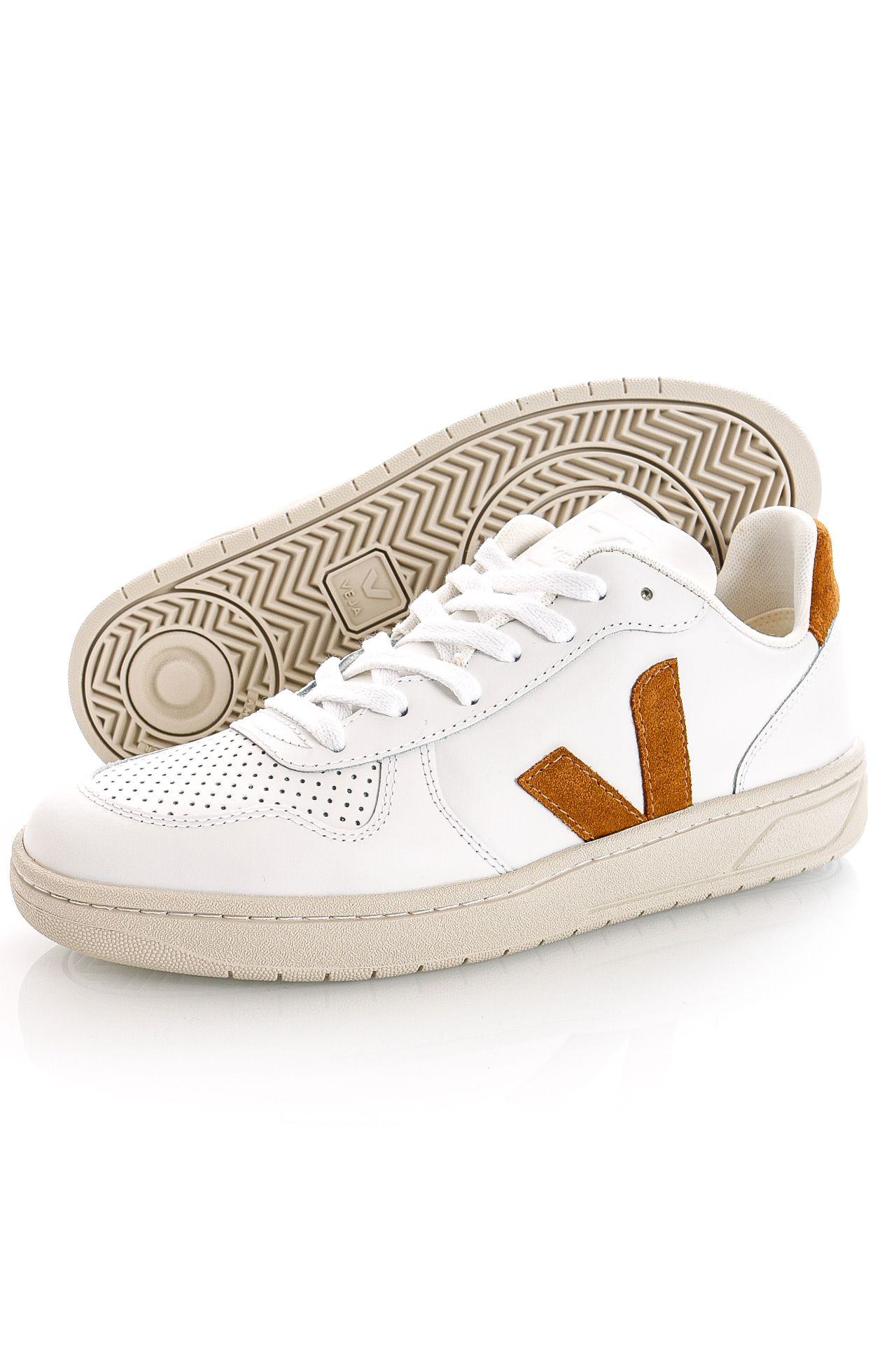 Afbeelding van Veja Sneakers V-10 LEATHER EXTRA-WHITECAMEL VX0202652B