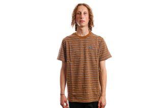 Foto van HUF T-Shirt HUF GLENN STRIPE S/S KNIT TOP TOFFEE KN00306