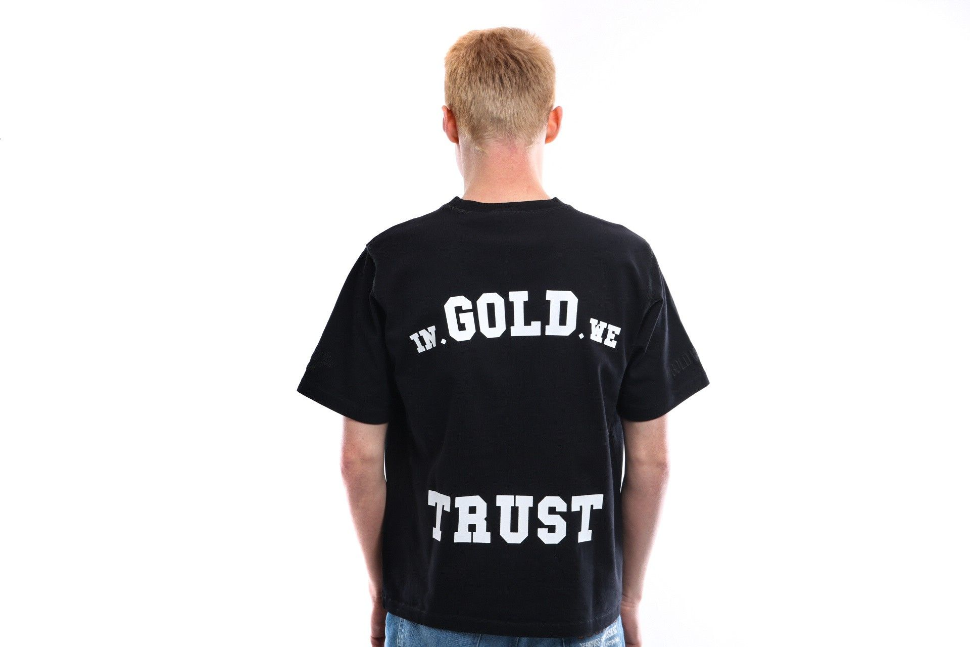 Afbeelding van In Gold We Trust T Shirt Overside Tee Basic Print Black Print Frond Black / White IGWT-003