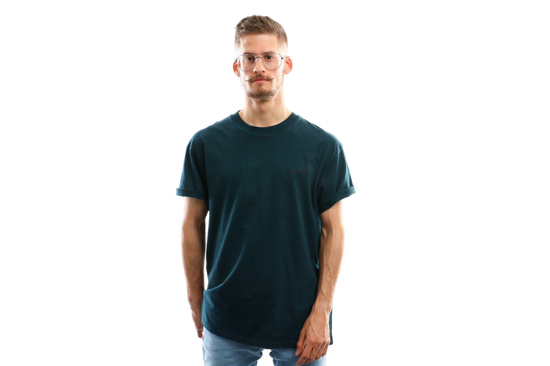 Afbeelding van Carhartt Wip S/S Script Embroidery T-Shirt I025778 T Shirt Duck Blue / Black