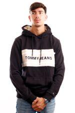 Tommy Jeans Hoodie TJM PIECED BAND LOGO Black / Smooth Stone DM0DM09651