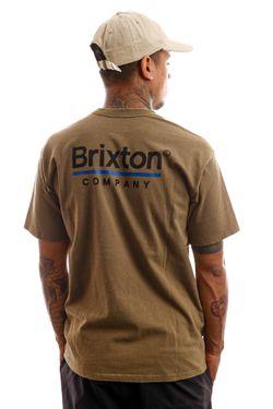 Afbeelding van Brixton T-shirt Palmer Line S/S STT Worn Wash Military Olive 16423