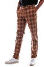 Brixton Broek Choice Chino Pant Washed Brown Plaid 4196