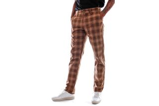 Foto van Brixton Broek Choice Chino Pant Washed Brown Plaid 4196