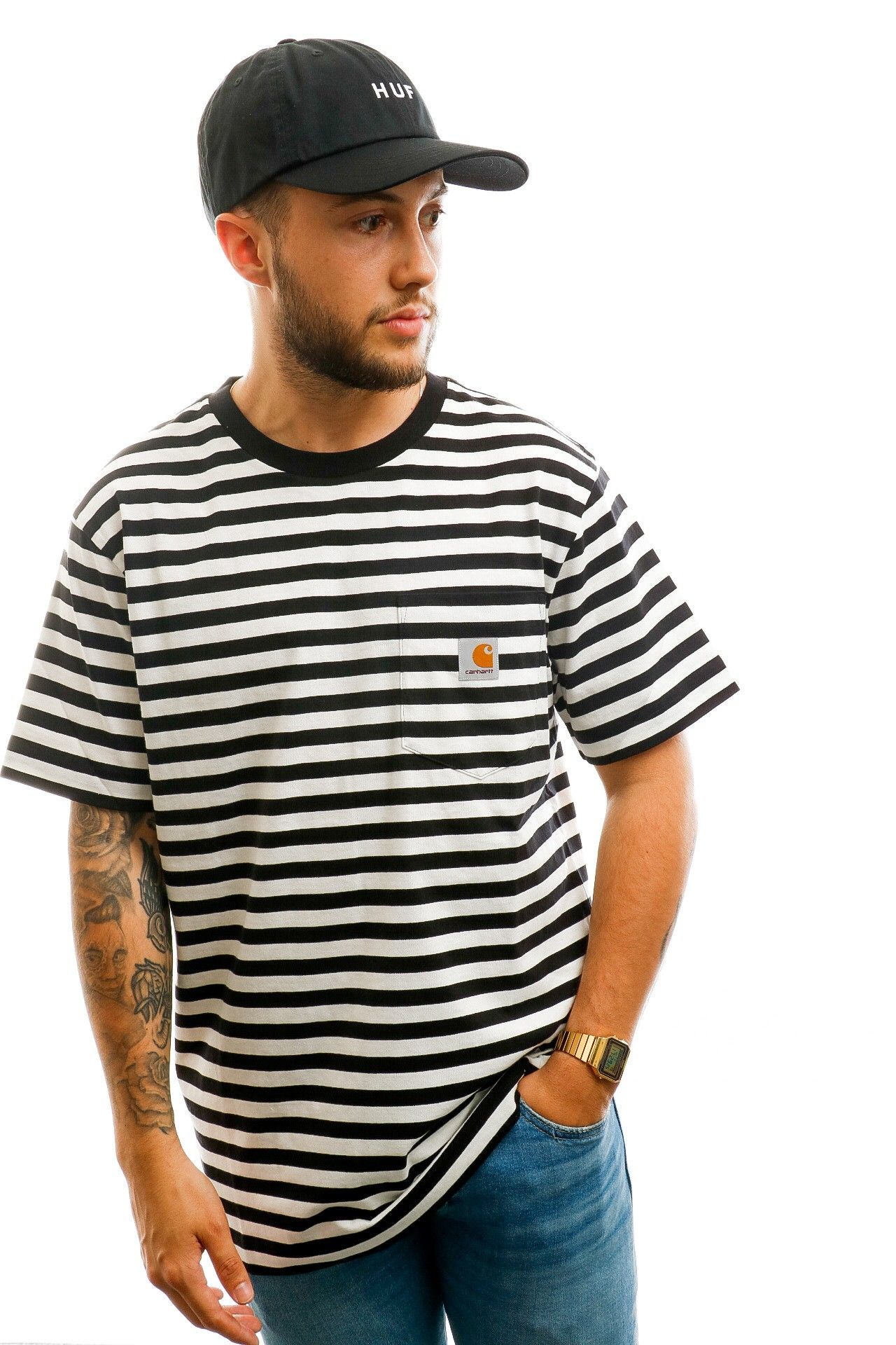 Afbeelding van Carhartt T-shirt S/S Parker Pocket T-Shirt Parker Stripe, Black / Wax I028406