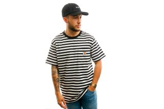 Foto van Carhartt T-shirt S/S Parker Pocket T-Shirt Parker Stripe, Black / Wax I028406