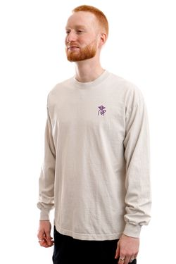 Afbeelding van The Quiet Life Longsleeve Shhh Embroidery Long Sleeve Cement QL-21SPD1-1110