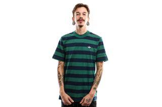 Foto van Adidas Stripe Tee Ec9305 T Shirt Night Indigo/Collegiate Green