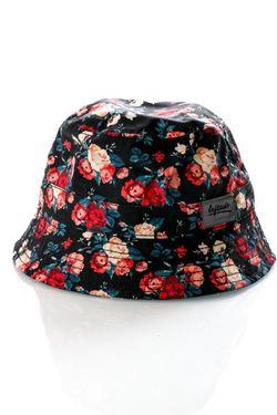 Afbeelding van Leftside Hat Roses Black Dark Red