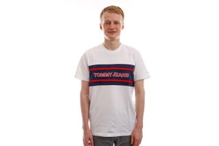 Foto van Tommy Jeans T-shirt TJM STRIPE COLORBLOCK White / Multi DM0DM09950