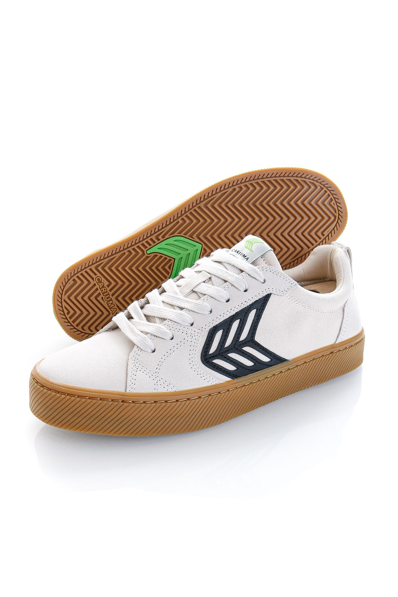 Afbeelding van Cariuma Sneakers CATIBA PRO Skate Black Logo Gum Vintage White Suede and Canvas Black 400807W15M080