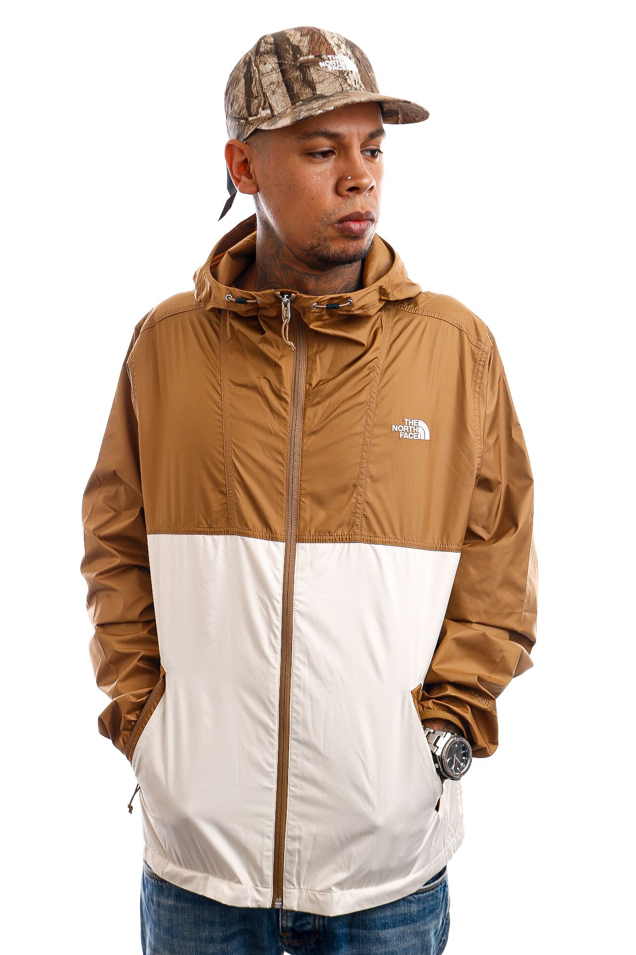 Afbeelding van The North Face Jas Mens Cyclone Jacket Brown/Off-White NF0A55STG4L1