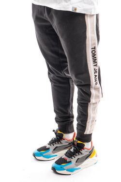 Afbeelding van Tommy Jeans Sweatpant TJM RIB INSERT SWEAT Black / Smooth Stone DM0DM11471